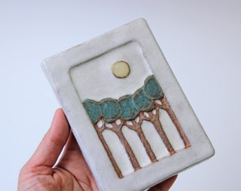 Modern pottery wall plaque - trees landscape pattern - pastel colors