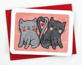 Kitties in Love - Anniversary card, Valentine's day Card, Love card, Friendship card, Missing you card