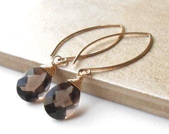 Long Gold Drop Earrings, Smokey Quartz Gold Filled Dangle Earrings