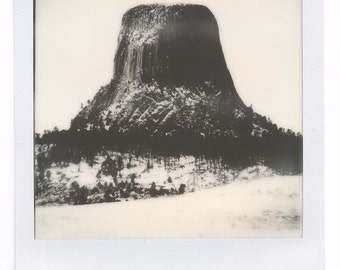 Polaroid Style Photographic Print – Devil's Tower Landscape – OOAK Ready to Frame