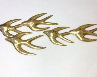 Brass Swallows Wall Plague Vintage 70s