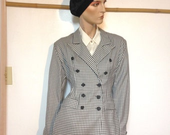 80s Houndstooth Jacket Size 4 Made in the USA