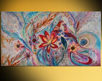 "64"" Original wall art interior design giclee canvas print Splash of Life series huge size light color best wall hangings"