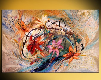 Huge abstract canvas painting Splash Of Life series The Humming-bird and exotic flowers orange rose red color thick paint XXL wall hanging