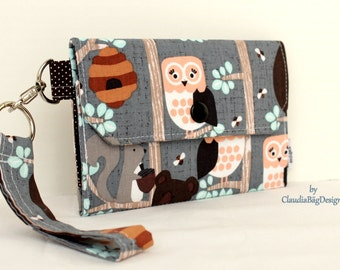 Large Cell Phone Wallet Fabric Travel Wallet Wristlet Key Fob for iPhone 6 Plus Galaxy S4 S5 S6 - Owl Bees Bear Squirrel Woodland