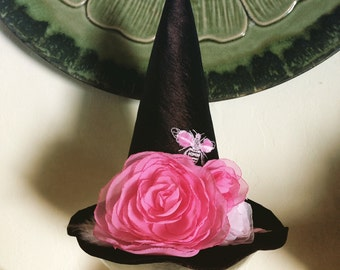 Bees and Roses Witch Hat, Witches Mini Top Hat, Halloween Fascinator