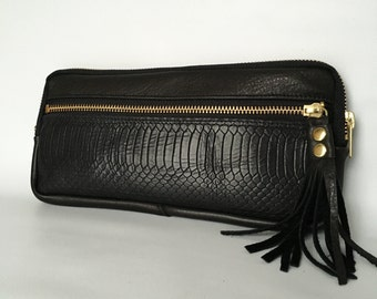 Leather wallet clutch in black lizard embossed cow hide // antique brass hardware