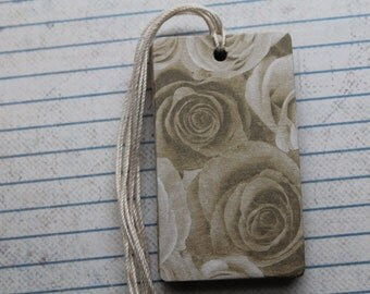 14 Sepia toned rose flower patterned paper over chipboard gift tags with string