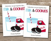 PRINTABLE - Kids Valentine Day Cards -Milk And Cookies - 3.5 x 4.5 - Personalized