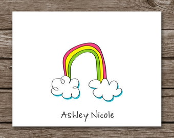 Rainbow Cards - Notecards - Note Cards - Clouds - Personalized - Set of 8