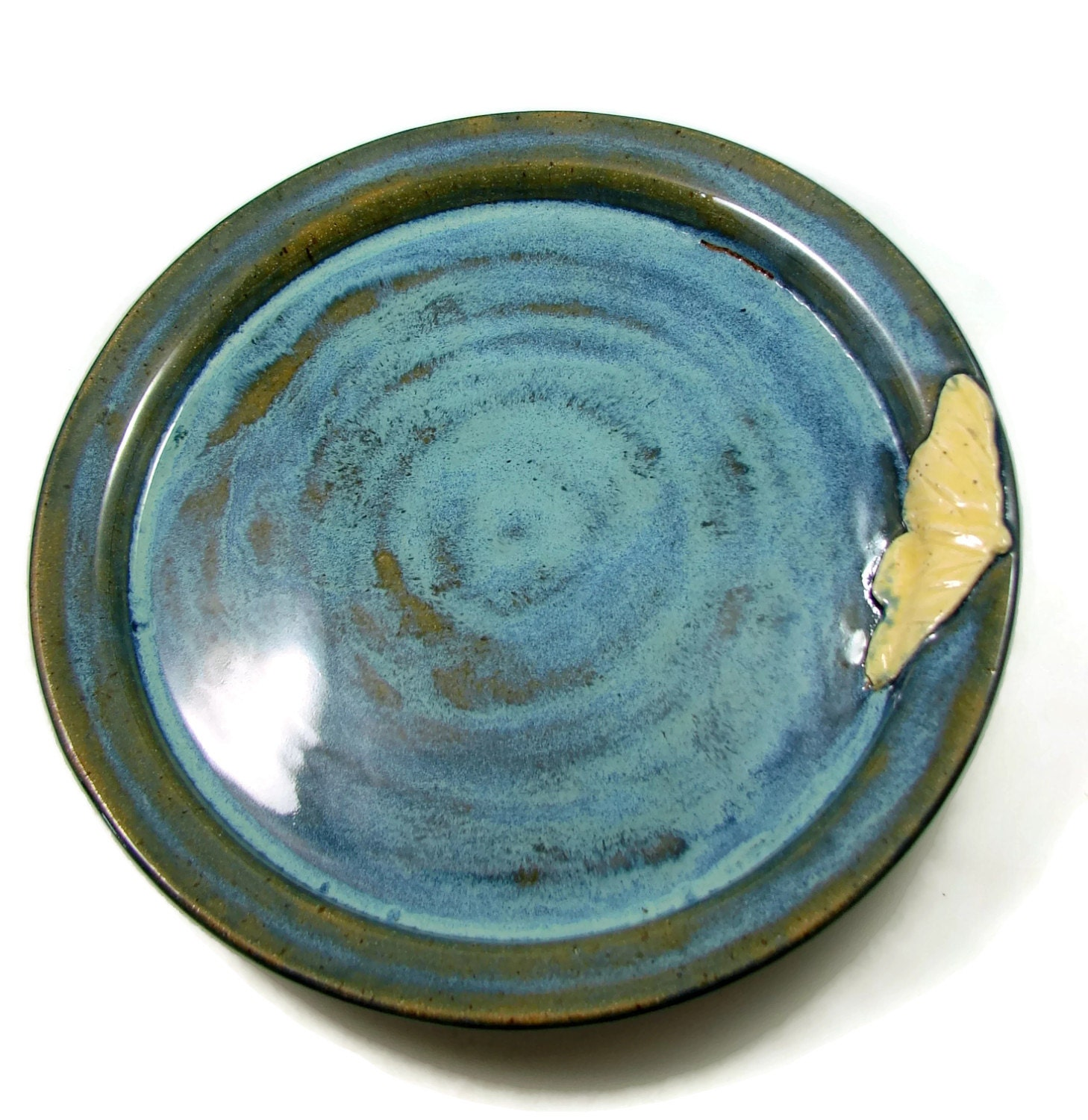butterfly dinner plate blue ceramic plate handmade