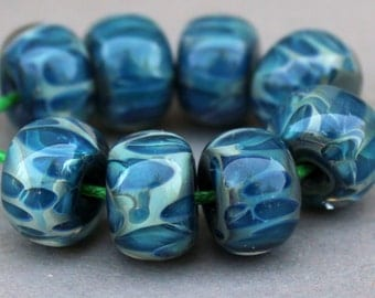 Lampwork Beads - Boro Beads - Blue Spotted Beads