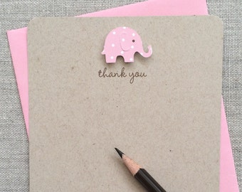 Baby Elephant Baby Shower Thank You Card Girl, Recycled Kraft Baby Elephant Baby Shower Thank You Cards, Handmade Baby Shower
