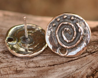 Sterling Silver Earring Post with Spiral and Dots, AD-351
