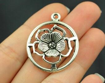 6pcs Large Flower Charms Pendant Antique Silver Tone 3D Circle  - SC204