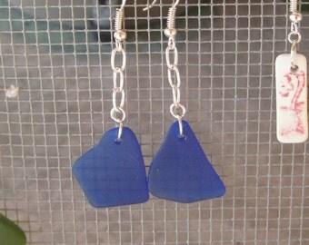Long Dangle cobalt blue seaglass style earrings, tumbled vintage glass, beachglass inspired earrings