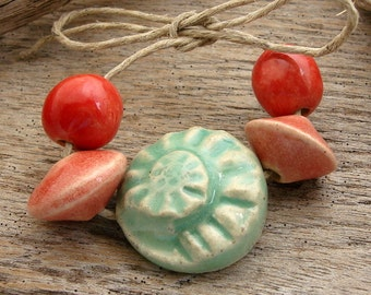 NAUTALUS SHELL CERAMIC Set - Handmade Ceramic Beads and Tab - 5 Ceramic Beads