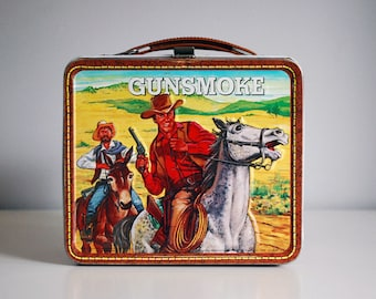 1972 Gunsmoke Metal Lunch Box Vintage Aladdin Western TV Show Horses Cowboys American West Retro Home Decor Embossed Metal Storage