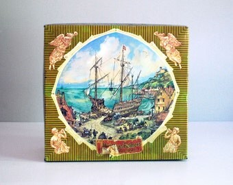Vintage Biscuit Tin, Huntley and Palmers Metal Box, English Nautical Scenes, Kitchen Storage Container Canister, Rustic Ship Boat Sea