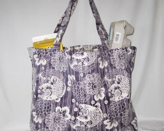 Japanese Koi and Chrysanthemum Design Heavy Duty Grocery Market or Equipment Totes SET of 2 Purple