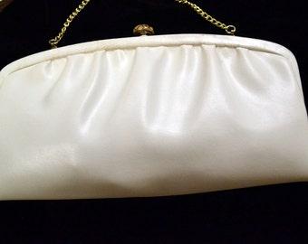 Vintage White Leather Clutch Handbag Leather Purse 50's fashion