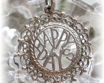Vintage Sterling Silver Happy Days Charm Pendant Filigree 1950s Retro Round Charms Marked