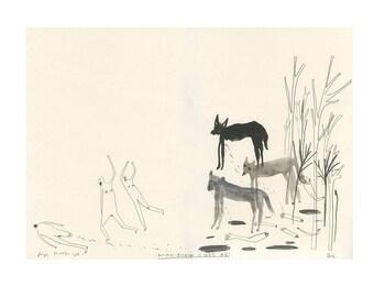 Original drawing - SALE - ANIMAL ATTACK c.1853 #6