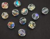 Vintage Austrian crystal beads, clear AB round faceted article 5300 7mm, 12 pcs