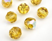 Vintage Austrian crystal beads, topaz AB faceted article 39 11mm, 8 pcs