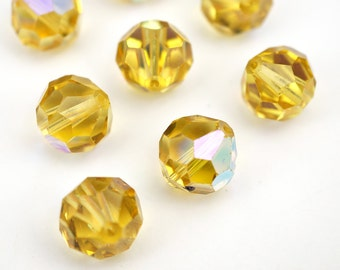 8 pcs vintage Austrian crystal beads, Swarovski topaz AB faceted article 39 11mm
