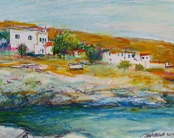 Greek Island of Hydra Coastal Homes - Original Painting in Frame by Jeff Sterling