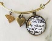 Folly Beach South Carolina Map Charm Bracelet - Personalized Map Jewelry - Travel - Wanderlust - Vacation - Charleston