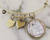 The Ohio State University Map Charm Bangle Bracelet - Personalized Map Jewelry - Stacked Bangle - Buckeyes - Ohio State - TBDBITL - The Shoe