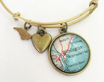 Wilmington North Carolina Map Charm Bangle Bracelet - Personalized Map Jewelry - Wanderlust - Travel - Wrightsville Beach - Carolina Coast