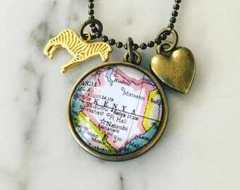 Kenya Map Charm Necklace - Travel Jewelry - Wanderlust - Safari - Africa Travel - Nairobi - Vintage Map Jewelry