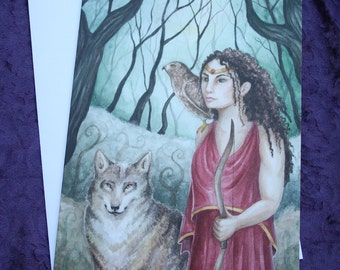 "Art Greeting Card, ""Artemis of the Mists"", Card with Envelope, Original Watercolor Painting by Victoria Chapman"