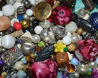 Lot of Loose Beads - Vintage to Now - for Necklace, Bracelets, Crafts - Wood Stone Glass Lucite Plastic and More - Lot K