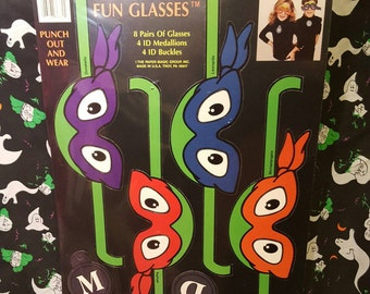 """1989 Teenage Mutant Ninja Turtle punch out mask """"fun glasses"""" new old stock"""