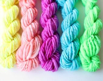 weavers creative yarn bundle, hand spun, hand dyed yarn, handspun art yarn .. juicy fruit 1