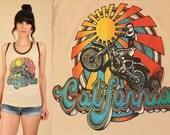 ViNtAgE 70's California Motocross T-Shirt Motorcycle Biker Sun Sunshine Print 1970s TShirt Tee Top Medium Large M L