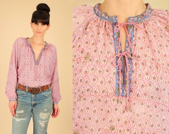 ViNtAgE 70's ZoDiAc Deadstock India Sheer Cotton Babydoll Tunic Floral Boho Hippie Top Medium M