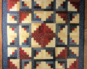 Log Cabin Star Wall Hanging Quilt