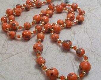 Marbled Orange Lanyard Necklace
