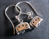 Vintage Airstream RV Camper Earrings - Solid Sterling Silver - french hook