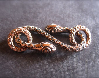 Copper Snake Charmer hook and eye clasp  - 22mm X 10mm