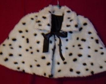 Dalmatian Capelet,Children's & Toddlers Capes,Faux fur Halloween Cover Ups