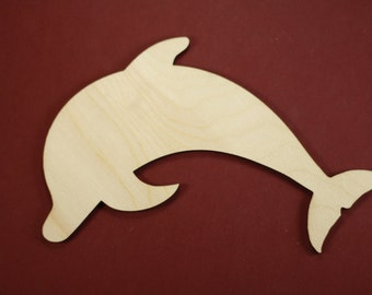 Dolphin Shape Unfinished Wood Laser Cut Shapes Crafts Variety of Sizes