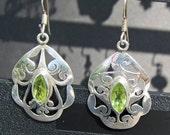 Vintage Sterling and Peridot Dangle Earrings