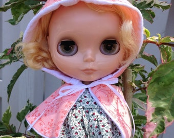 Blythe Cape Hooded Cape Doll Clothes Spring Floral Fresh Peach Whimsical