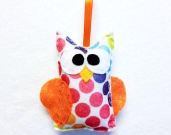 Owl Ornament, Felt Ornament, Raymond the Owl - Polka Dots and Orange Wings, Felt Bird, Felt Animal